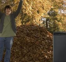 Raking Leaves Triumphant Boy